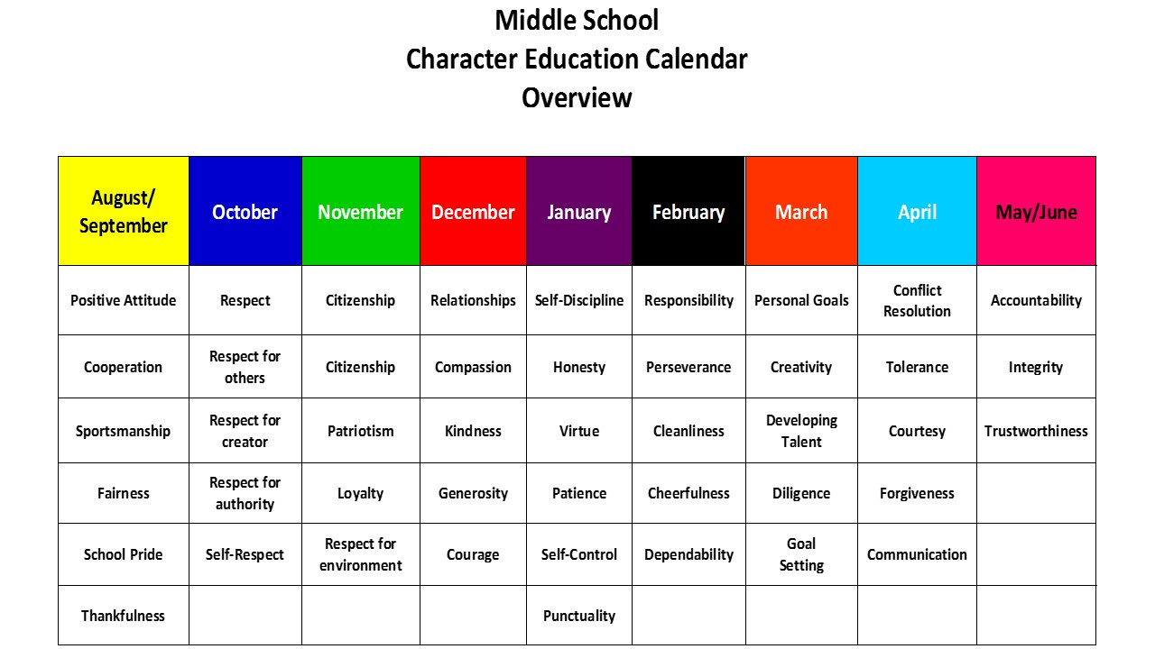 Character Education Calendar